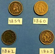 Indian Head Cents / Penny 1859, 1860, 1862 And 1863 Coins Show Liberty On The Band