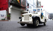 Nomura Toy Made Electric Police Patrol Jeep With Repro Box 1950s Made Of Tin Jpn