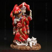 Folk China Color Porcelain Newly Married Couple Wife In Law Pig Ornament Statue