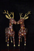 China Court Fengshui Wire Inlay Cloisonne Enamel Pure Bronze Red Sika Deer Pair