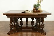 Oak Renaissance Antique Library Or Office Desk Dining Table Draw Leaves 36193