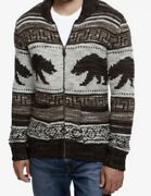 Lucky Brand Mens Warm Zip Front Sweater Black/gray/beige Bears-size Large-nwt