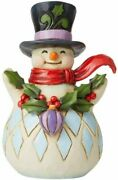 Enesco Jim Shore Heartwood Creek Snowman With Holly Garland Pint Size Figurine