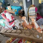 Santa In Sleigh W/toys And 2 Reindeer Lighted Empire Blow Mold