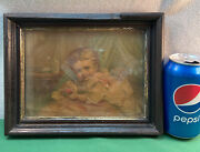 Vtg Antique Victorian Baby Toddler With Ball Doll Toys Small Framed Litho Print