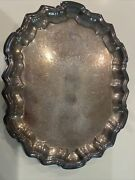 Vintage F.b. Rogers Silver Co Silver On Copper Footed Tray Excellent