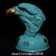 10 China Qing Dynasty Turquoise Green Glaze Tracing Gold Eagle Statue