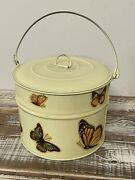 Vintage Tin Metal Lunch Pail Bucket With Lid/handle Butterflies