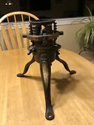 Late 19th C Antique North Bros Phil Pa Black/gold Pntd Cast Iron Xmas Tree Stand