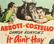 Abbott And Costello It Aint Hay Lobby Card Movie Poster 1943 Title Card