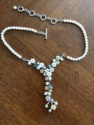 Cgi Pearl Carved Shell Abalone Floral Necklace Sterling Silver
