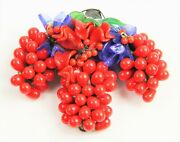 Estate Antique Jewelry Chinese Export Glass And Silver Grape Cluster Brooch