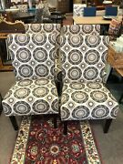 Parson Dining Chairs In Pattern Upholstery Set Of 4