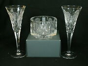 Waterford Millennium Peace 2 Champagne Flutes Signed O'leary And Bottle Coaster