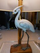 Blue Heron Lamp On Wood Stand With Brass Pole And Acrlyic Stand 21