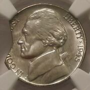 1945 P Jefferson Nickel Ngc Ms 66 10 Curved Clip 3260