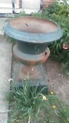 Pair Of Rare Pair Antique Marked Kramer Brothers Cast Iron Garden Planters Urns