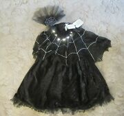 Pottery Barn Halloween Black Spider Queen Costume 2pc Light Up Size 4-6 4 5 6