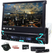 Single 1din 7 Flip Up Car Stereo Dvd Cd Radio Player Gps Touch Screen 8gb Map