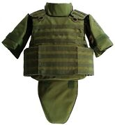 Xl Long Green Full Body Armor Plate Carrier Molle Vest Iiia Made With Kevlar Inc