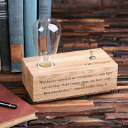 Personalised Wooden Edison Lamp Award Ideas - Engrave Your Text And Company Logo