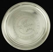 Antique 1920s Russian Silver Flower Engraved Serving Platter/tray 10 1/4