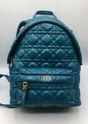 3,900 Dior Cannage Backback In Lambskin Leather Blue Lady Gold Small