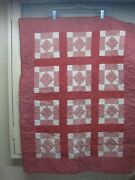 Antique Child/baby Patchwork Quilt Reversible Pink, Rose And Ivory All Hand Done