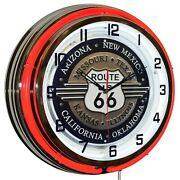 Route 66 Sign Red Double Neon Clock Garage Man Cave Decor 19