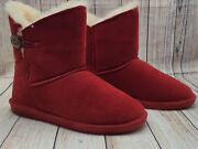 Bearpaw Rosie Ankle-high Red Boots Size 9 Sheepskin/wool Lined