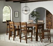 Rustic Farmhouse 7-piece Counter Height Dining Set Solid Wood Golden Brown