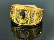 22k Ring Solid Gold Elegant Charm Mens Horse Shoes Size 11 Resizable R2575mon