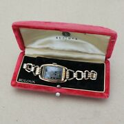 Vintage Bulova Two Tone Dial Gold Filled Watch Original Band W/ Box Running Wow