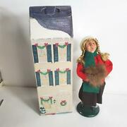 Byers Choice Carolers Girl With Fur Muff Braided Pony Tails Signed Ltd 20/100