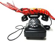 Telephone Metal 1928 Red Lobster Rotary . Collectible Germany Siemens Working