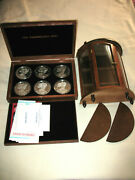 1990-1995 Silver Eagle Half Pound Rounds .999 Silver With Case Cabinet And Coa