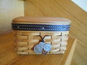Longaberger Pocket Change Basket Set W/ Lid Tie Fathers Day Shipping Included