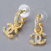 Coco Mark Rhinestone Earrings Gold 01 〇p Vintage Accessories Jewelry 2001