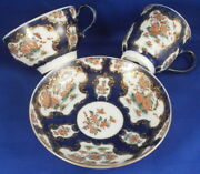 Rare Antique 18thc Worcester Porcelain Kakiemon And Blue Scale Trio Cup S And Saucer