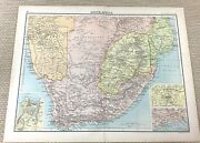 1891 Antique Map Of South Africa Cape Colony Orange Free State Old 19th Century