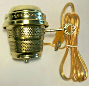 New Brass Electric Burner With 6ft. Gold Cord For Aladdin Brand Lamps Eb243