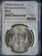 1953 Bicentennial Of Hidalgoand039s Birth Silver 5 Pesos Ngc Ms 64 1-year Type Coin