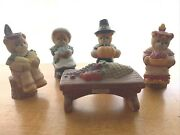 Lucy And Me Enesco Bear Thanksgiving Meal Pilgrim Native Set Of 5 Vintage