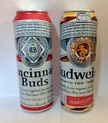 2 Budweiser 25 Oz Beer Cans Cincinnati Buds And Cleveland Cavaliers  Empty Cans