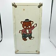 Vintage Doll Steamer Trunk 1950s Chest Closet Clothes Wardrobe Metal Toy Bear