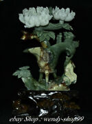 Chinese Natural Green Xiu Jade Carved Peony Flower Beast Drink Wine Cup Statue