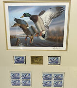 Ronald Louque 1988 Virginia Migratory Waterfowl Stamps Print Gold Medallion