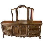 Drexel Heritage Brittany French Provincial Dresser With Trifold Mirror
