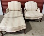 Ethan Allen Pair Of Country French Versailles Bergère Chairs + Matching Ottoman