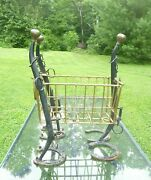Vintage Horse Hanes And Draft Horse Shoes Metal Magazine Rack Equestrian Decor